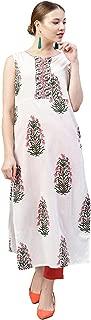 Jaipur Kurti Women White & Coral Floral Straight Cotton Kurta with Pant