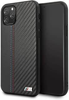 BMW PU Leather Carbon Strip Hard Case For iPhone 11 Pro - Black