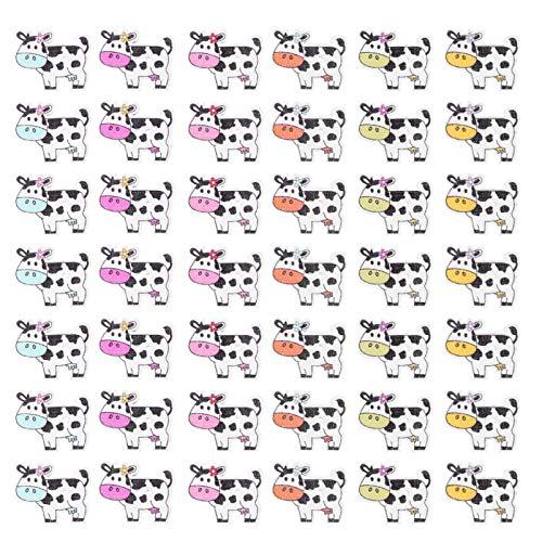 PRETYZOOM 100 botones de madera con animales de vaca para niños, manualidades,...