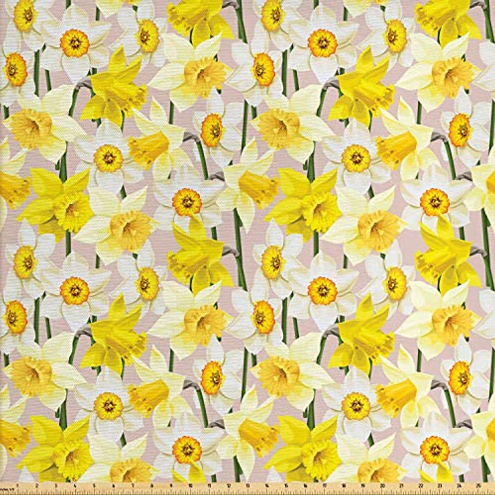 Lunarable Daffodil Fabric by The Yard, Gentle Nature Theme Blooming Spring Season Realistic Romantic Bedding Plants, Decorative Fabric for Upholstery and Home Accents, 1 Yard, Yellow Green Tan
