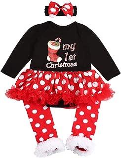 Walsoner My 1ST Christmas Letter Print Dress Baby Girls Long Sleeve Christmas Tree Print Dress Toddlers Tutu Dress Clothes Set