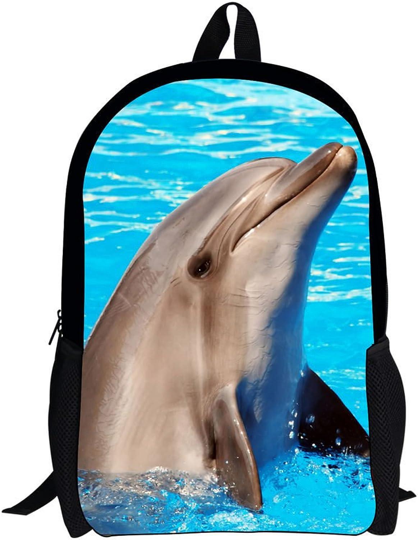 Advocator Deep Sea Animals Cute Dolphins School Backpack for Teens Kids Bookbags