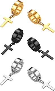 3 Pairs No Piercing Clip On Hoop Cross Dangle Earrings for Men Women,Hypoallergenic,Silver,Gold,Black