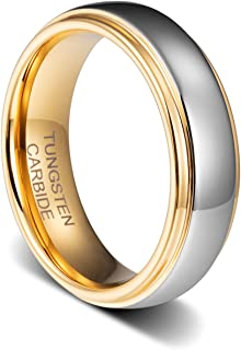 TUSEN JEWELRY 6MM Wedding Bands 18K Gold Plated Tungsten Wedding Ring Band Comfort Fit