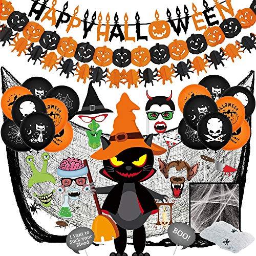 Decoración de Halloween, Bst4U Pancarta de Letras, Pancarta de Calabaza, Pancarta de ArañA, Tela Negra, TelarañA, Globo, Mago de Gato Negro, Accesorio para Fotos (42 Piezas)