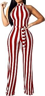 BEAGIMEG Women's Striped Halter High Waist Wide Leg Jumpsuit with Belt