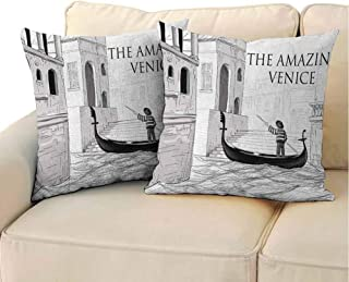 QIAOQIAOLO Decorative Pillowcase Venice (Set of 2) Canals of Venice Child Gondolier on Water Historical Amazing European City Sketch Easy to disassemble Black White 18x18 inch
