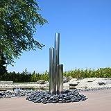CLGarden Säulen aus Edelstahl 3 Brunnensäulen aufwendig poliert mit Einer Höhe von 100cm 75cm 50cm für Gartenbrunnen Springbrunnen außen Wasserspiel