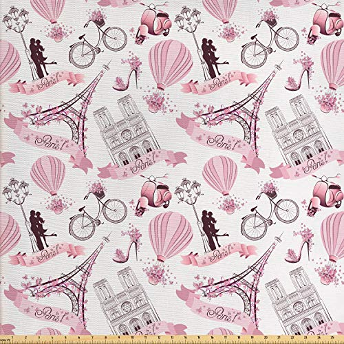 Ambesonne Paris Fabric by The Yard, Valentines Day Theme with Eiffel Kissing Couple Hot Air Balloon Wedding Concept, Decorative Fabric for Upholstery and Home Accents, 1 Yard, Pink Rose