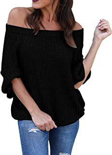Foshow Womens Off The Shoulder Sweater Oversized Knit Fall Loose Pullover