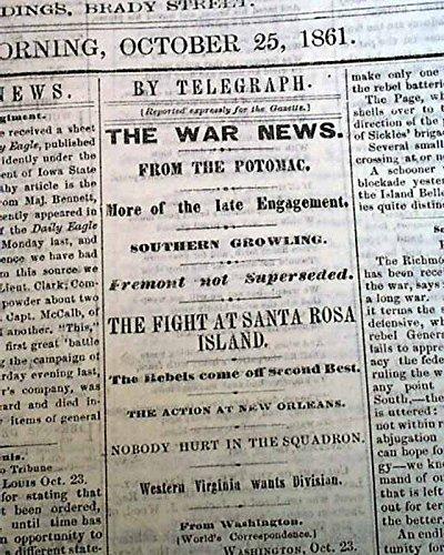 Rare DAVENPORT Iowa Civil War Battle of Santa Rosa Island Florida 1861 Newspaper DAVENPORT DAILY GAZETTE, Iowa, October 25, 1861