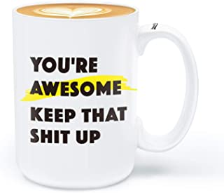 Thank You Gifts for Women Men, Funny Coffee Mug, Manager Gift, 15 ounce Large Mug You're Awesome …