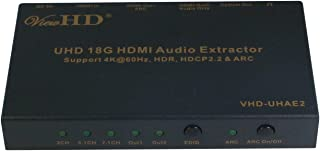 ViewHD UHD 18G HDMI Audio Extractor/Splitter Support HDMI v2.0 | HDCP v2.2 | 4K@60Hz | HDR | ARC | 3.5MM Analog Audio Output | Toslink Optical Audio Output | HDMI Audio Output | Model: VHD-UHAE2