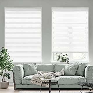 Yoolax Motorized Zebra Shades Free-Stop Cordless Zebra Blinds Rechargeable Dual Layer Sheer with Cassette Valance Window Blinds (Pure White)