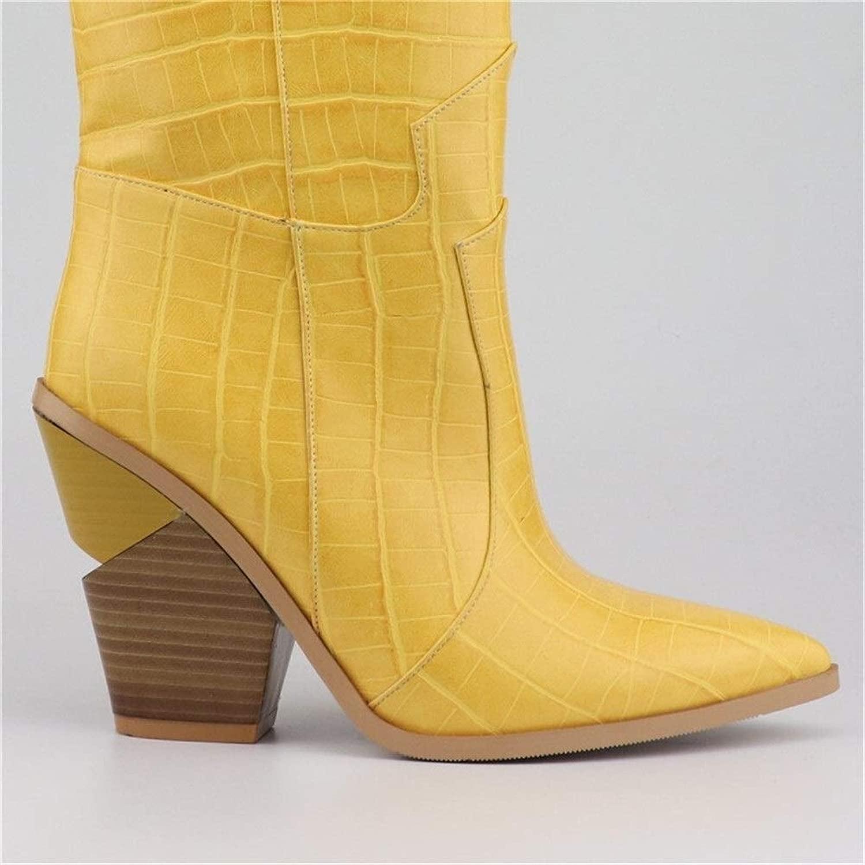 Huaxinyitech Damen Stiefel Spitz Keile Schuhe Stiefelette (Farbe    Gelb, Größe   3)  günstig online