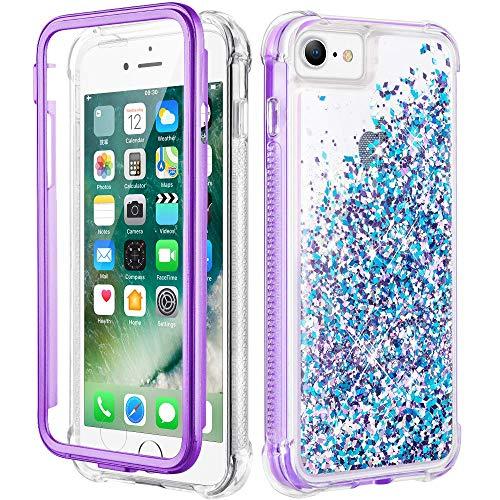 wlooo Cover per iPhone SE 2020, iPhone 6 6s 7 8 Glitter Bling Liquido Corpo Pieno Custodia Sparkly Luccichio TPU Silicone Protettivo Brillantini Quicksand Ragazze Case con Pellicola (Blu Viola)