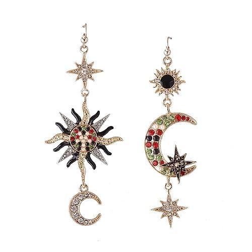 06a79f4fa MengPa Star Sun Moon Design Mismatched Crystal Drop Earrings for Women  Vintage Asymmetrical Jewelry