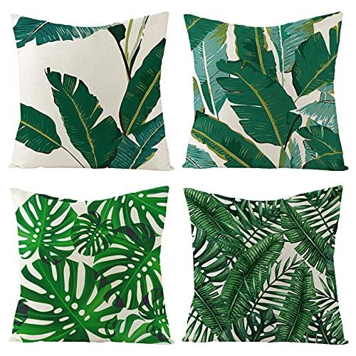Fundas de Cojín Lino Plantas Tropicales Funda de Almohada para Cojín de Decoración para Sofa,Cama,Coche,Silla 45 x 45 cm,Juego de 4 (Estilo 4)