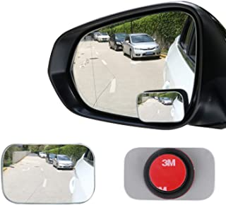 LivTee Blind Spot Mirror, Rectangle Shaped HD Glass Frameless Convex Rear View Mirror with wide angle Adjustable Stick for...