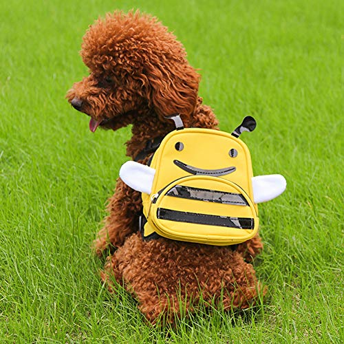IDOPET Dog Pack Harness Cute Backpack Vest for Small Medium Dogs Travel Outdoor Camping Hiking Adjustable Saddlebag Outdoor Rucksack Zipper Daypack Pet Self Mini Carrier Cartoon Bee Shape Puppy Bag