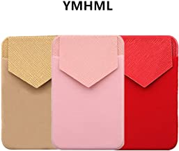 YMHML Pouch Flap Credit Card Holder for Back of Phone, Secure Cell Phone Stick on Wallet Functioning as Phone Card Holder Wallet, iPhone Credit Card Holder for Cell Phone Multi-Colored