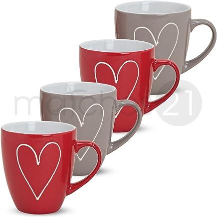 Preisvergleich für matches21 Große Tassen Becher Herzen Herzdekor rot/grau 4 Stk. Set aus Keramik gefertigt je 11 cm / 400 ml
