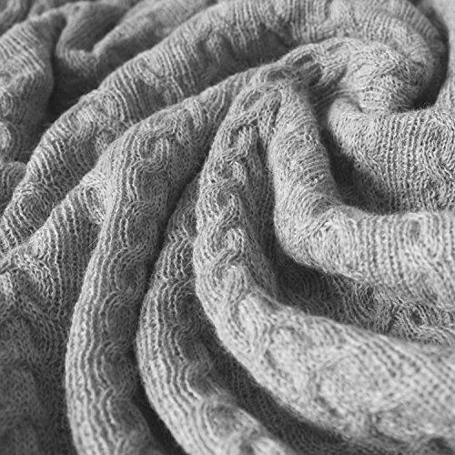 Lorenzo Cana Voluminöse Alpakadecke aus 100prozent Alpaka - Wolle vom Baby Alpaka - Zopfmuster Fair Trade Decke Wohndecke gestrickt Sofadecke Tagesdecke Kuscheldecke 96035