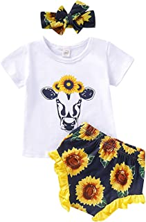 YOUNGER TREE Newborn Baby Girl Clothes Sunflower Romper + Floral Short Pants with Headband 3Pcs Summer Outfit Set 0-18Months
