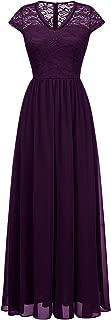 Long Lace Chiffon Maxi Bridesmaid Dress V Neck Formal Party Gown Dress