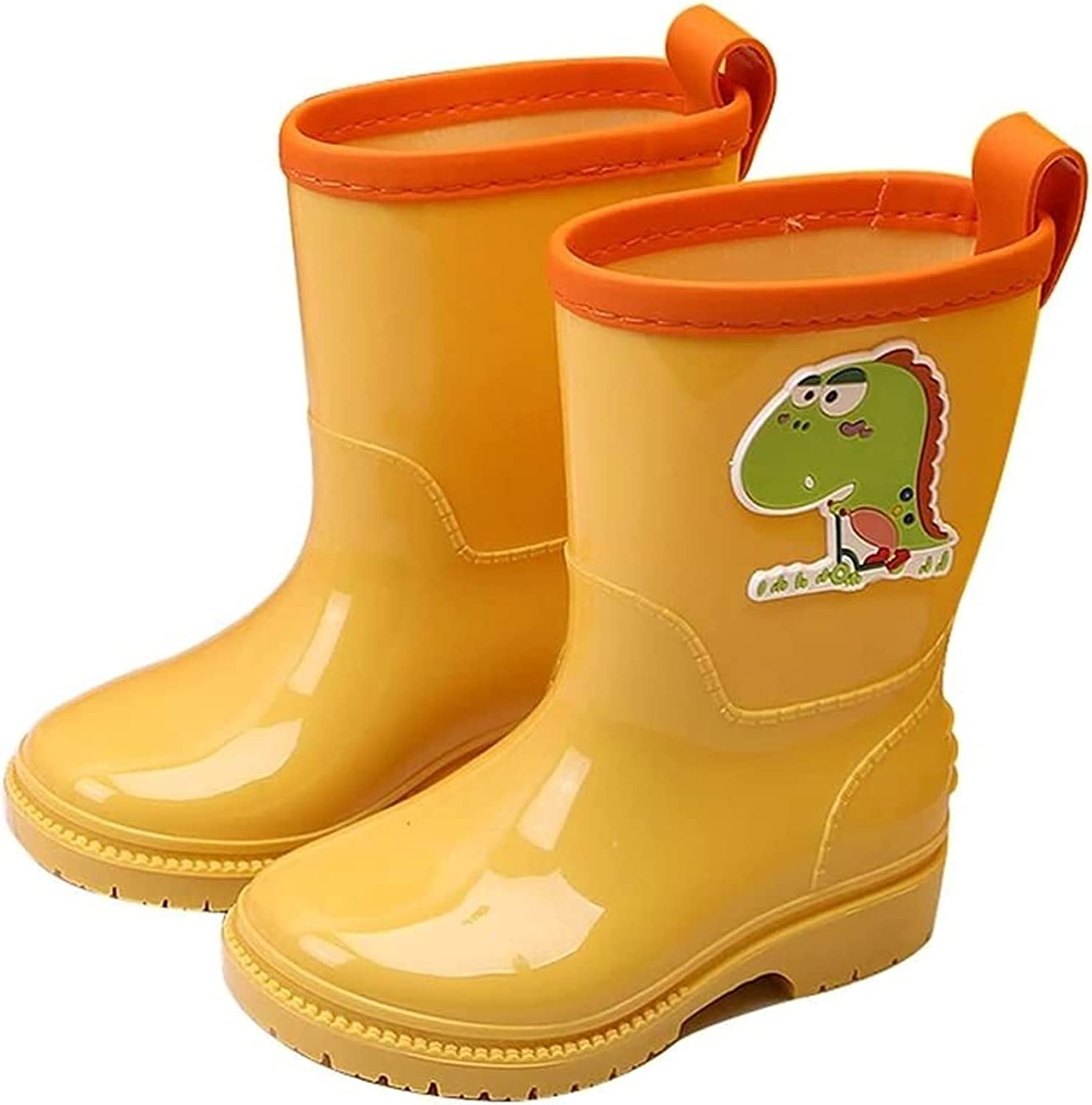 SYZHIWUJIA Rain Boots Boys and Girls Non-Slip Rain Boots Toddler Waterproof Boots Cartoon Pattern Design Light Rain Boots Water Shoes Children's rain Boots (Color : Yellow, Size : 20cm)