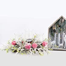 Lubao Christmas Poinsettia Candle Holder Artificial Christmas Centerpiece Wreath for Winter Home Decorations New Years Decor