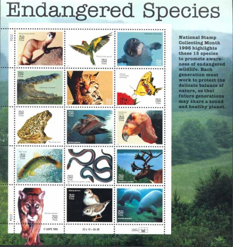 Endangered Species Collectible Sheet of Fifteen 32 Cent Stamps Scott 3105 By USPS