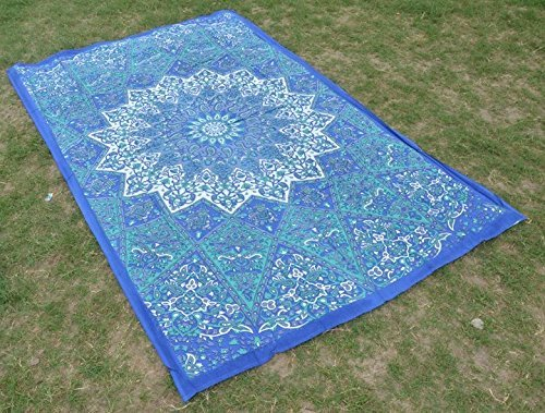 Tapestry Wall Decor Twin Blue Tapestry Bohemian Star Mandala Tapestries Wall Hanging Boho Beach Throw Psychedelic Hippie Bohemian Bedspread Bedding Bed Cover Ethnic Home Decor Ethnic Dorm Decor