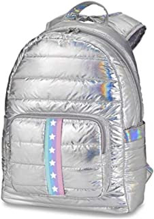 Top Trenz Iridescent Silver Puffer Backpack with Stars and Stripes