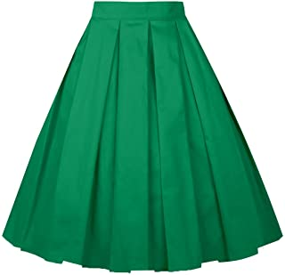 5c5d35999ade4 Girstunm Women s Pleated Vintage Skirt Floral Print A-line Midi Skirts with  Pockets