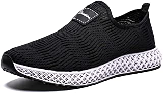 Shangruiqi Athletic Sneaker for Men Sport Shoes Slip on Mesh Low Top Breathable Round Toe Fashion Lightweigt Casual Anti-Wear (Color : Black, Size : 6.5 UK)