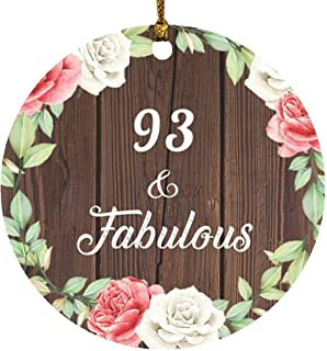 93rd Birthday 93 & Fabulous - Circle Wood Ornament A Christmas Tree Hanging Decor - for Friend Kid Daughter Son Grand-Dad ...