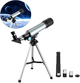Brand Bucket Land & Sky Telescope - Optical Glass & Metal Tube Refractor Telescope (90X Power) with Tripod & 2 Eyepieces