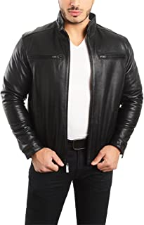 mens leather jacket stand up collar