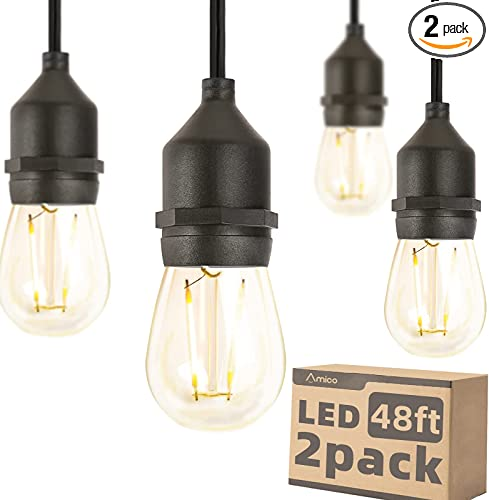 Amico 96FT (2x48FT) LED Outdoor String Lights with 2W Dimmable Edison Vintage Plastic Bulbs Commercial Weatherproof Strand UL Listed Heavy-Duty Decorative Patio Cafe Market Porch Lights