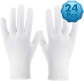 White Cotton Gloves, Cridoz 12 Pairs Cotton Gloves Cleaning Serving Archival Gloves for Women Dry Hands Sleeping Moisture ...