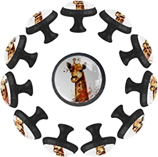 Boutons D'armoire 12 Pcs Poignés Poignée De Champignons Porte Poignées avec Vis pour Cabinet Tiroir Cuisine,Girafe animal ...