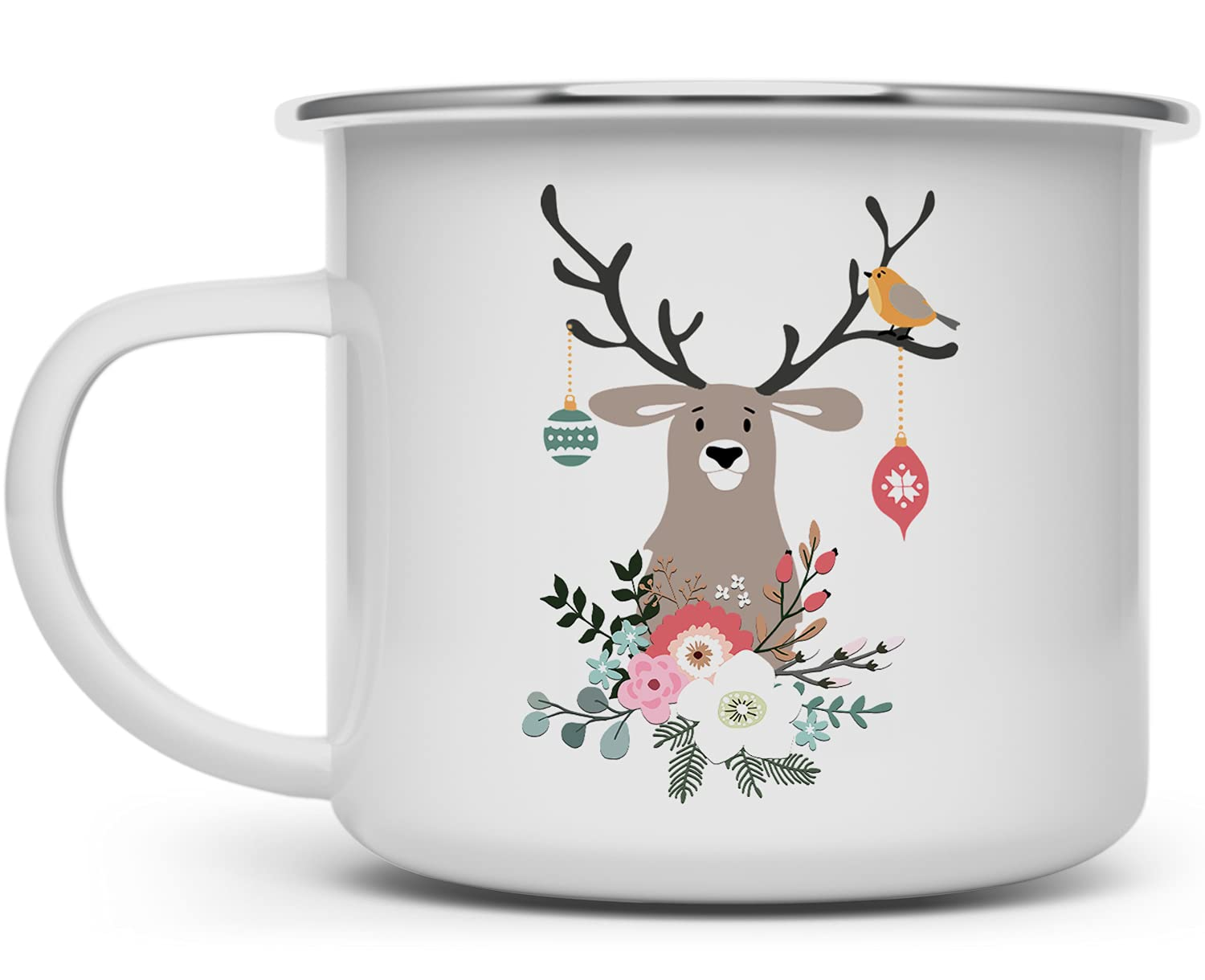 Christmas Holiday Max 89% OFF Woodland Deer Campfire Enamel Outlet sale feature Coffee Outd Mug