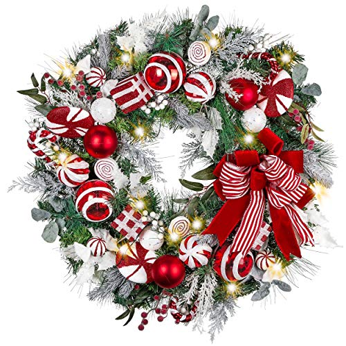 Valery Madelyn Pre-Lit 30 inch Sweet Candy Red White Christmas Door Wreath with Ball Ornaments Bows Berries, Battery Operated 40 LED Lights, Large Holiday Decoration for Outdoor Home Window Fireplace