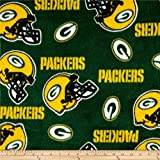Fabric Traditions NFL Fleece Bay Packers Tossed Helmets, Yard, Green/Yellow