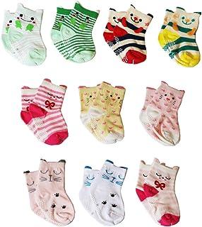 Z-Chen Calcetines Antideslizantes de Algodón para Bebé (Pack de 10), 0-1 Años