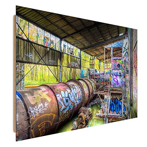 Feeby. Tableau - 1 Partie - 50x70 cm, Décoration Murale Image Imprimée Deco Panel, Usine, Architecture, Graffiti, Multicolor
