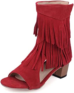 Women Mid Block Heels Fashion Boots Fringed Open Toe Ankle Bootie Shoes