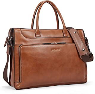 BOSTANTEN Leather Briefcase Vintage Business Message Bags 15.6 inch Laptop Shoulder Handbag for Women & Men Brown Brown