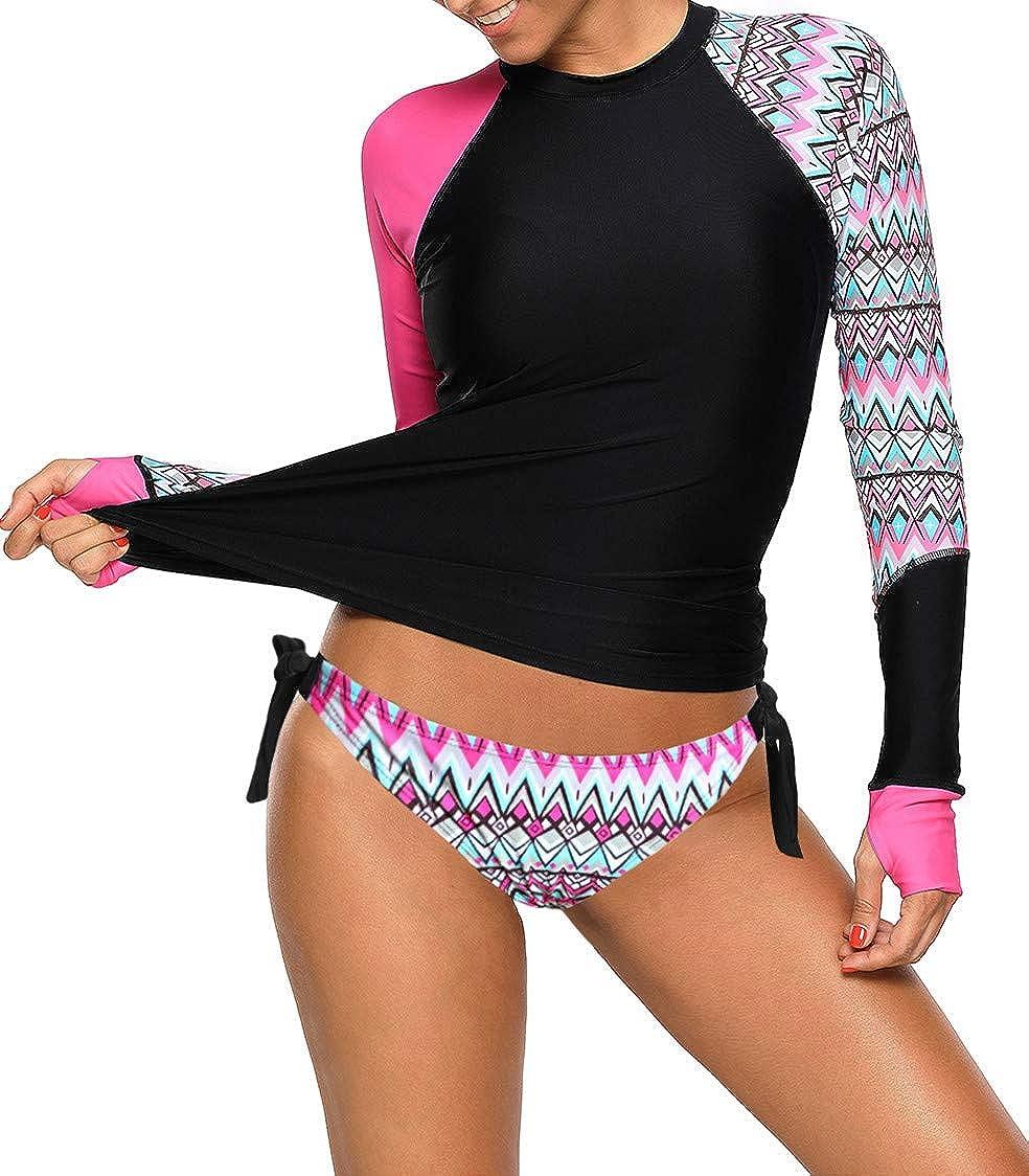 Ocean Plus Mujer Tankini de Cuello Redondo con Mangas Largas Bikini Conservador con Estampado Geom/étrico Traje de Ba/ño de Dos Piezas